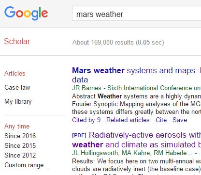 google-scholar-mars-weather
